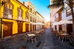 Colorful balconies in Santa Cruz city on La Palma island Stock Photo