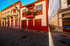 Colorful balconies in Santa Cruz city on La Palma island Royalty Free Stock Photos