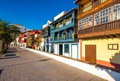 Colorful balconies in Santa Cruz city on La Palma island Royalty Free Stock Images