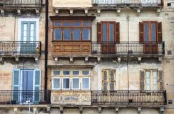 Colorful balconies in Valletta. Typical building with colorful balconies in Valletta, Malta Royalty Free Stock Photo