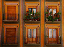Colorful balconies and windows, Granada Royalty Free Stock Photos