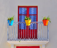 Colorful balcony. Of typical mediterranean house Stock Photo