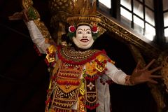 Colorful bali mask. In black background stock photos