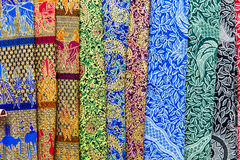 Colorful balinese cloth for sale, Abstract fabric texture backgr Royalty Free Stock Image