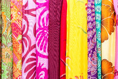 Colorful balinese cloth for sale, Abstract fabric texture backgr Stock Photo