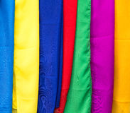 Colorful balinese cloth for sale, Abstract fabric texture backgr Stock Image