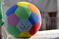 Colorful Ball cuddly toy. Cuddly toy Ball, soft & colorful Stock Photos