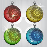 Colorful ball decoration with retro motive Stock Photography
