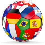 Colorful ball with different countries. Colorful soccer ball with different countries for worldcup 2018 in russia Royalty Free Stock Images