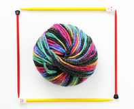 Colorful ball of knitting yarn Stock Photo