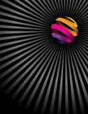 Colorful ball and lines. A colorful ball on black and gray lines background Stock Photo