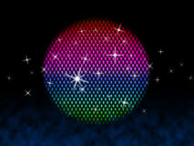 Colorful Ball Means Disco Stars And Lighting. Colorful Ball Meaning Disco Stars And Lighting vector illustration