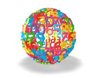 Colorful ball of numbers, maths and informatics idea. Stock Images