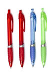 Colorful ball point pens. Isolated on white background royalty free stock photos