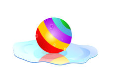 Colorful ball in puddle. Colorful striped ball in puddle isolated on white background Stock Photography