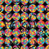 Colorful ball roll dark seamless pattern vector illustration