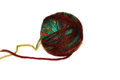 Colorful ball of woollen yarn. Isolated on white background Royalty Free Stock Image