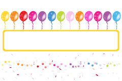 Colorful ballons frame with confetti Royalty Free Stock Images