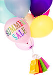 Colorful ballons and shopping bags, summer sale. Colorful ballons and shopping bags, text summer sale, isolated on white Royalty Free Stock Photography