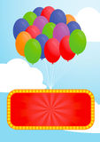 Colorful balloon and Advertising billboard Royalty Free Stock Photos