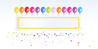 Colorful balloon banner and confetti vector Royalty Free Stock Photos