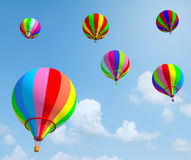 Colorful balloon with blue sky. White card in clothes line created by 3d program Royalty Free Stock Photo