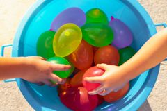 colorful balloon in bucket