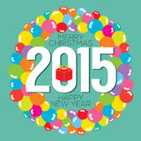 Colorful Balloon Bunch 2015 New Year Card. Vector Illustration Royalty Free Stock Photo