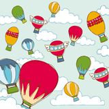 Colorful Balloon and Cloud Vector Stock Image