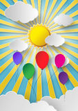 Colorful balloon flying high in the air. With sun shine vector illustration