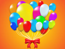 Colorful Balloon and red Bow Royalty Free Stock Images