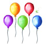 Colorful balloon set. Watercolor hand drawn illustration, isolated on white background.