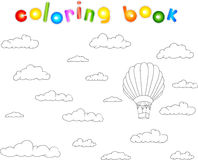 Colorful balloon in the sky. Coloring book for children Stock Photo