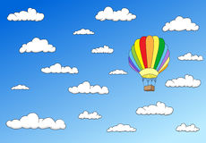 Colorful balloon in the sky. Horisontal image Royalty Free Stock Photo
