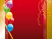 Colorful balloons. Shiny colorful balloons and confetti Stock Photo