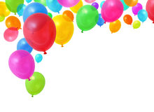 Colorful balloons. Colorful birthday party balloons flying on white background royalty free stock photography