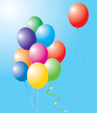 Colorful balloons. Vector illustration of colorful balloons in the sky Royalty Free Stock Photography