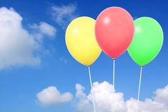 Colorful balloons. In blue sky Stock Photography