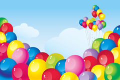 Colorful balloons. Flying in the sky bright colorful balloons Royalty Free Stock Photos