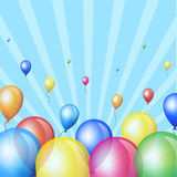 Colorful balloons. Holiday background with colorful balloons in sky Royalty Free Stock Images