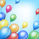 Colorful balloons. Holiday background with colorful balloons in sky Stock Photos