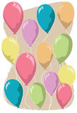 Colorful Balloons. Floating in the air. Perfect for birthday greetings Stock Illustration
