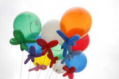 Colorful Balloons. Bright Colorful Balloons tie together against white background stock photos