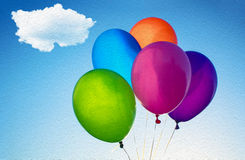 Colorful Balloons. Against sky - birthday decoration Royalty Free Stock Photography