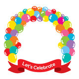 Colorful Balloons Arch With Red Ribbon Stock Photos