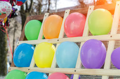 Colorful balloons as targets. The photo was taken in the children`s park stock photos