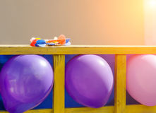 Colorful balloons as targets. The photo was taken in the children`s park royalty free stock image