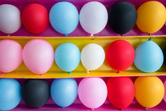 Colorful balloons as targets for playing balloon games. Royalty Free Stock Photo