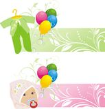 Colorful balloons and baby suits. Two banners Royalty Free Stock Images