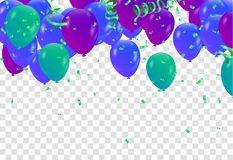 Colorful Balloons background with colorful balloons and confetti. Illustration Stock Illustration